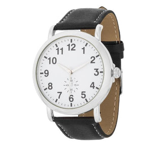 Silver Classic Watch With Black Leather Strap - Jewelry Xoxo