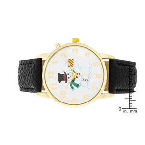 Gold Holiday Tune Watch With Black Leather Strap - Jewelry Xoxo