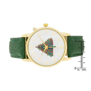 Gold Holiday Tune Watch With Green Leather Strap - Jewelry Xoxo
