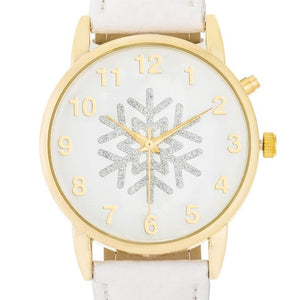 Gold Holiday Tune Watch With White Leather Strap - Jewelry Xoxo