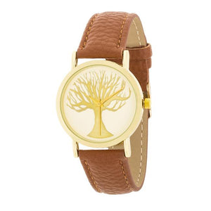Fashion Tree Dial Watch With Leather Band - Jewelry Xoxo