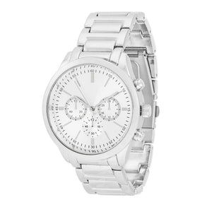 Chrono Silvertone Metal Watch - Jewelry Xoxo