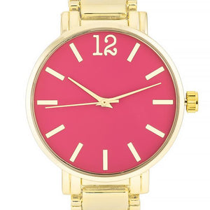 Gold Metal Watch - Pink - Jewelry Xoxo