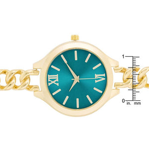 Gold Link Watch With Turqoise Dial - Jewelry Xoxo