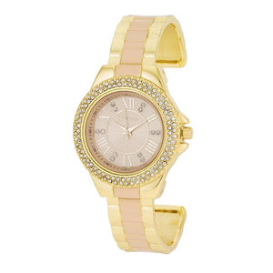 Gold Metal Cuff Watch With Crystals - Beige - Jewelry Xoxo