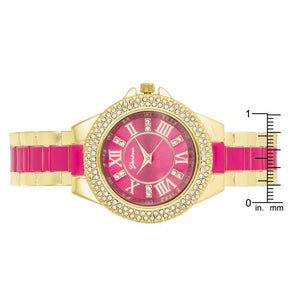 Gold Metal Cuff Watch With Crystals - Pink - Jewelry Xoxo