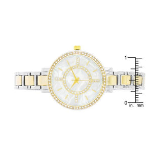 Classic Metal Watch With Crystals - Jewelry Xoxo