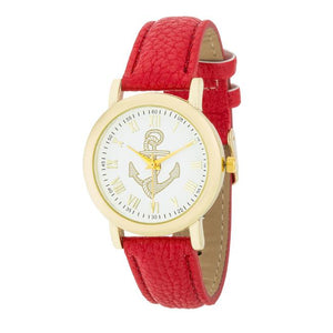 Natalie Gold Nautical Watch With Red Leather Band - Jewelry Xoxo