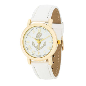 Natalie Gold Nautical Watch With White Leather Band - Jewelry Xoxo