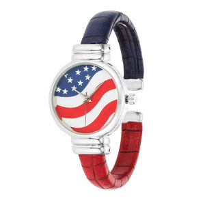 Patriotic Cuff Watch In Red - Jewelry Xoxo