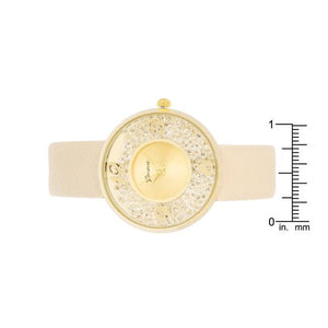 Gold Watch With Leather Strap - Jewelry Xoxo