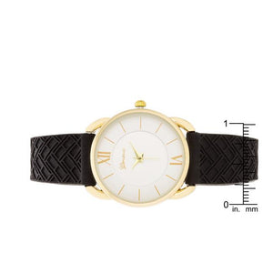 Mina Gold Classic Watch With Black Rubber Strap - Jewelry Xoxo