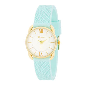Mina Gold Classic Watch With Mint Rubber Strap - Jewelry Xoxo