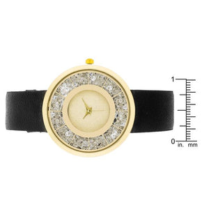 Gold Black Leather Watch With Crystals - Jewelry Xoxo
