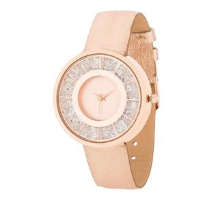 Rose Goldtone Leather Watch With Crystals - Jewelry Xoxo