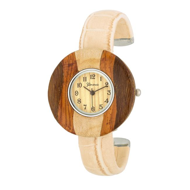 Brenna Beige Wood Inspired Leather Cuff Watch - Jewelry Xoxo