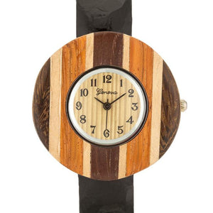 Brenna Black Wood Inspired Leather Cuff Watch - Jewelry Xoxo