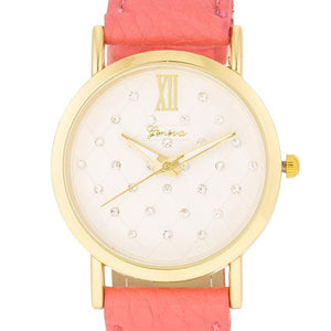 Gold Coral Leather Watch - Jewelry Xoxo