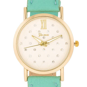 Gold Mint Leather Watch - Jewelry Xoxo