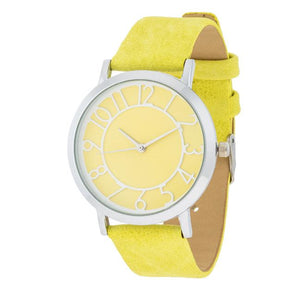 Silver Watch With Yellow Leather Strap - Jewelry Xoxo