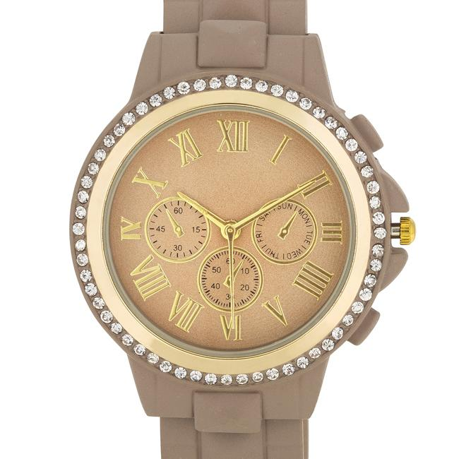 Ava Gold Taupe Metal Watch With Crystals - Jewelry Xoxo