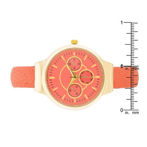 Reyna Gold Coral Leather Cuff Watch - Jewelry Xoxo