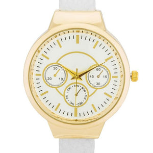 Reyna Gold White Leather Cuff Watch - Jewelry Xoxo