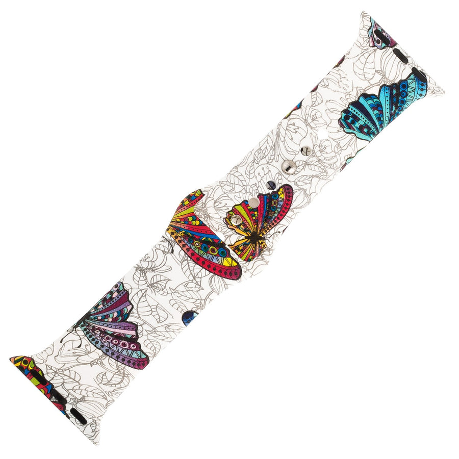 Butterfly Pattern Silicone Sports Watch Band 42mm - Jewelry Xoxo
