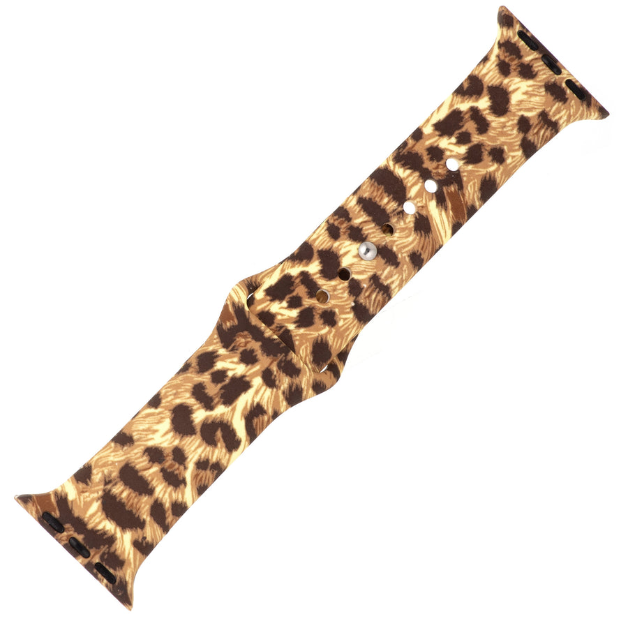 Exotic Cheetah Silicone Sports Watch Band 42mm