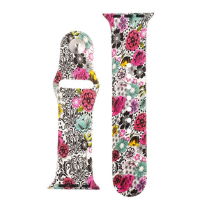 Floral Silicone Sports Watch Band 38mm