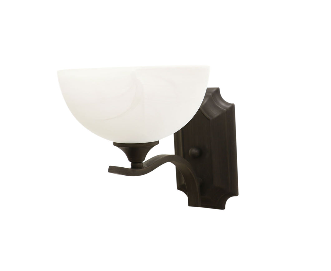 Eurolux frosted glass bowl vanity sconce ant grey side view