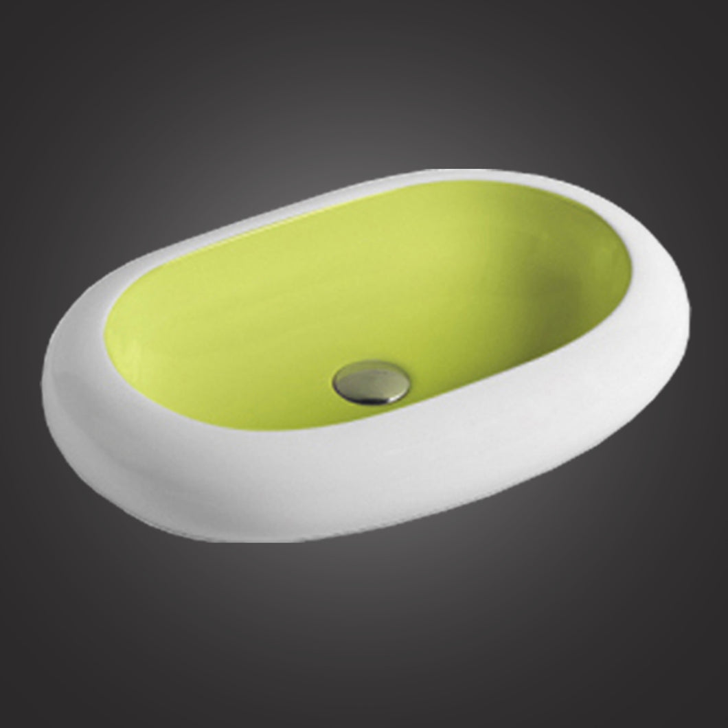 Eurolux white porcelain bathroom sink with lime green interior EU7042WGN