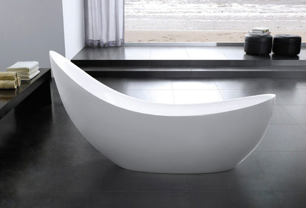 Eurolux Pearl curved modern freestanding tub in room