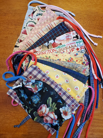 Face Mask with Ties (4 Pack) FREE Shipping (Fabric Varies Asst)