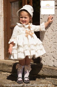 "CREAM RUFFLES DRESS ""SOLE"""