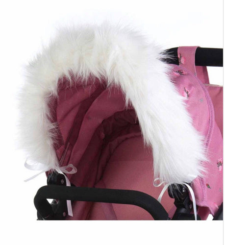 Roma Dolls Pram Hood Fur - white