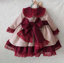 Load image into Gallery viewer, Golden Velvet and Burgundi Puffball Dress. Mod 610