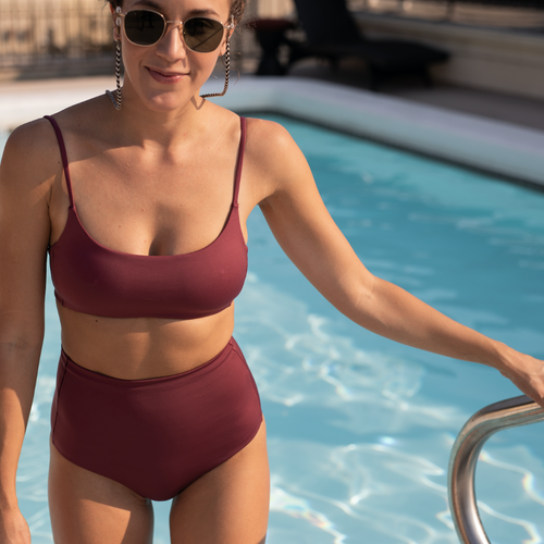 Hi Tide Bottom - Desert Plum + Pool Days Top - Desert Plum