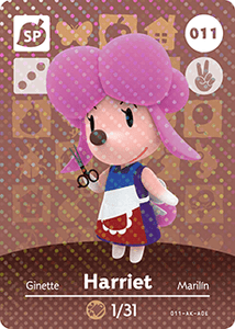 011 Harriet SP Authentic Animal Crossing Amiibo Card - Series 1