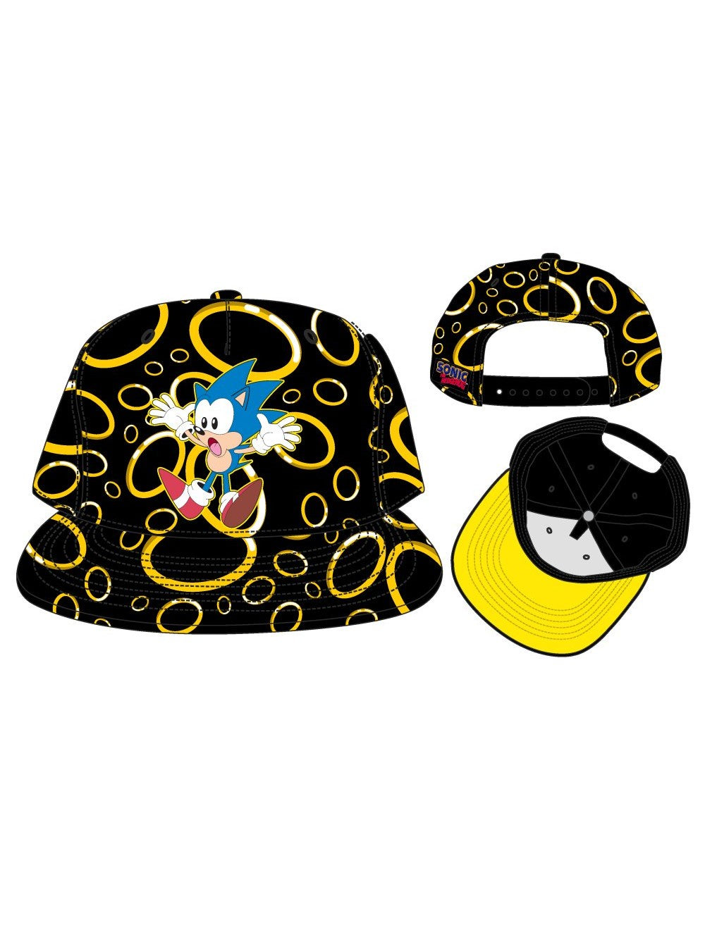 SEGA - Rings 3D Embroid S/B Cap Black