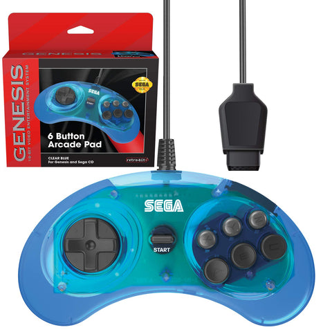 Genesis Clear Blue 6 Button Arcade Pad Controller [Retro-Bit]