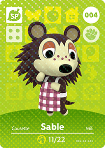 004 Sable SP Animal Crossing Amiibo Card - Series 1