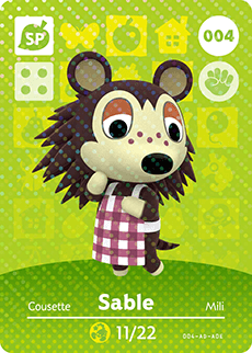 004 Sable SP Authentic Animal Crossing Amiibo Card - Series 1