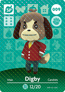 009 Digby SP Authentic Animal Crossing Amiibo Card - Series 1