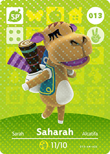 013 Saharah SP Authentic Animal Crossing Amiibo Card - Series 1