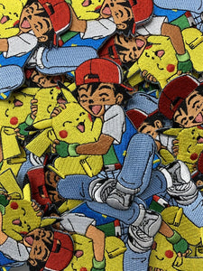 Ash & Pikachu Hugging Pokemon Custom Embroidered Iron-On/Sew-On Patch