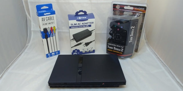 Playstation 2 Black Slim PS2 System Console with 3rd Party Controller