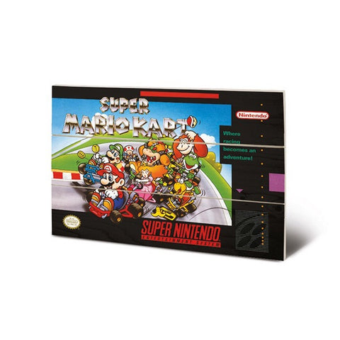 Super Mario Kart SNES Game Cover Art 8″ x 12″ Wood Print