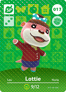 017 Lottie SP Authentic Animal Crossing Amiibo Card - Series 1