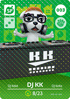 003 DJ KK SP Authentic Animal Crossing Amiibo Card - Series 1